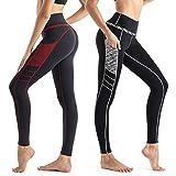 Wirezoll Sport Damen Leggings, Lange Blinkdicht Yoga Hose Sporthose Fitnesshose mit Taschen