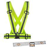 Wheeloo Premium Reflektorweste zum Laufen, Joggen, Fahrrad Fahren // KOSTENLOSE REFLEKTORBÄNDER // Sicherheitsweste für Sport, gelb für Erwachsene & Kinder/elastisch + einstellbar/Jogger Motorrad