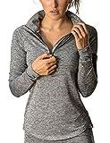 icyzone Damen Sport T-Shirt Langarm Laufshirt - 1/2 Reißverschluss Fitness Sweatshirt Laufjacke Running Tops
